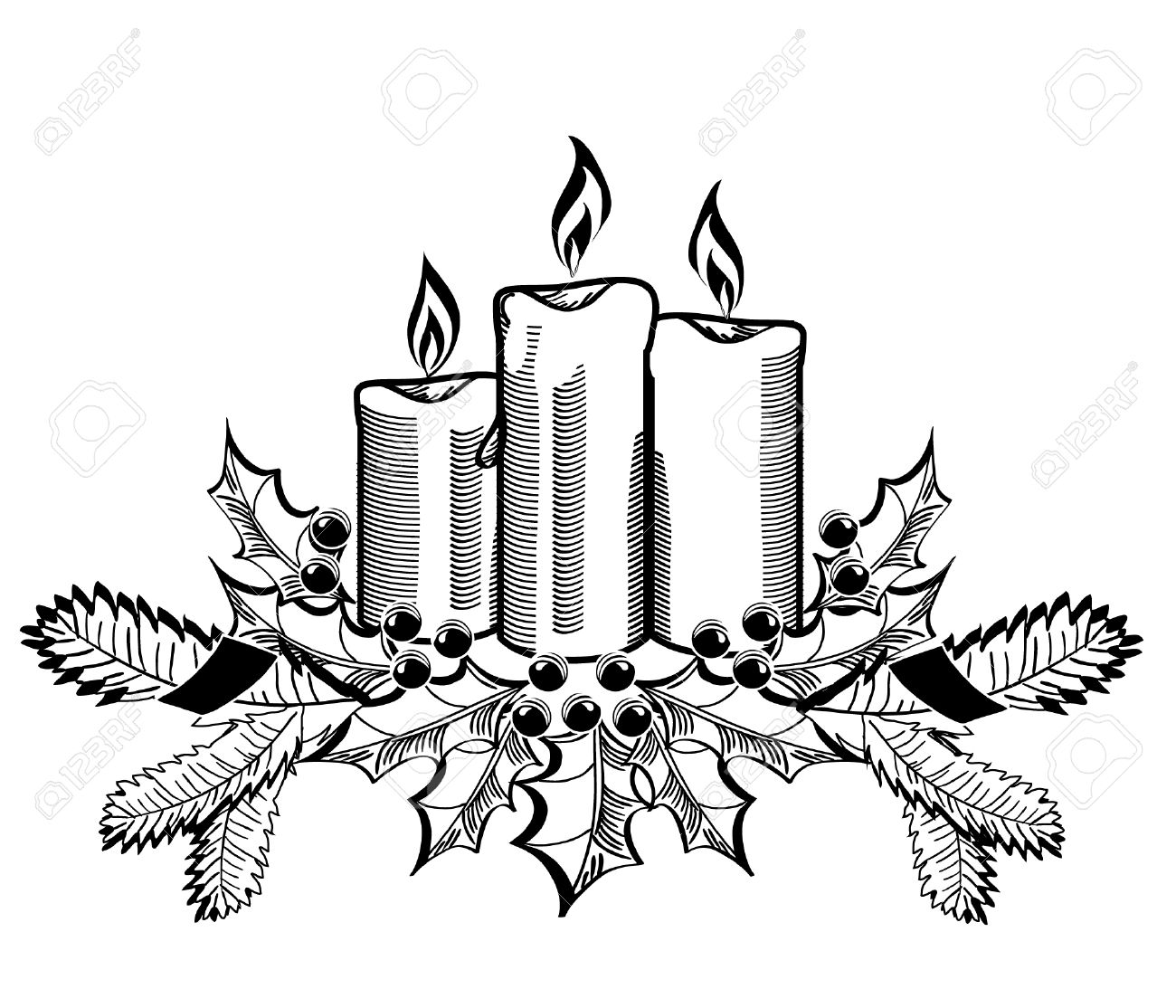 Christmas Candles And Holly Sprigs On White. Royalty Free Cliparts ... for Candle Clip Art Black And White  45ifm