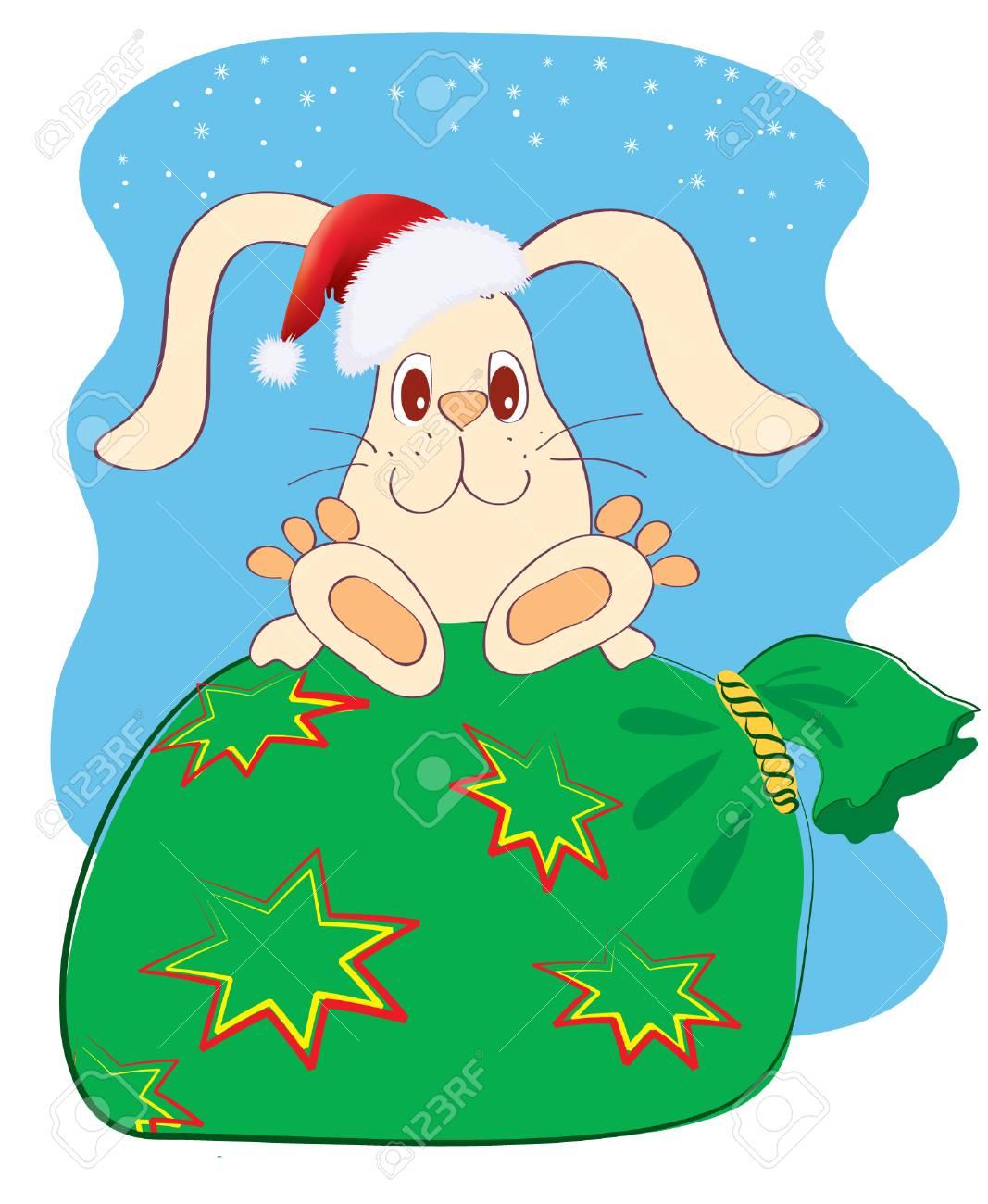 Rabbit and christmas box.new year symbol Stock Vector - 8356441