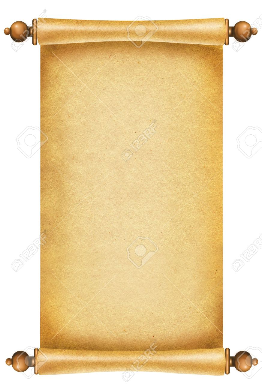 Old paper background Antique scroll on white