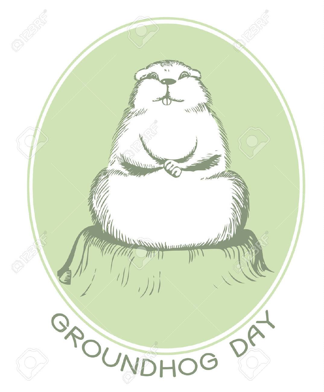 groundhog day with text vector graphic postcard royalty free