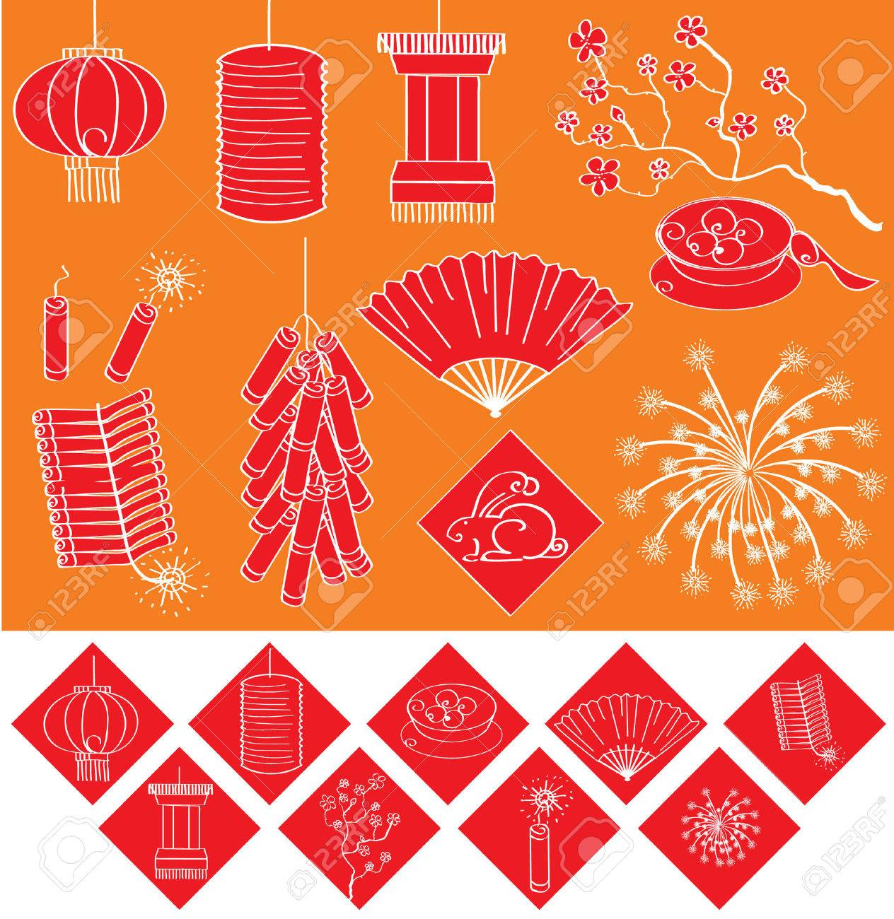 Chinese new year elements for celebrations.Vector Stock Vector - 8807552