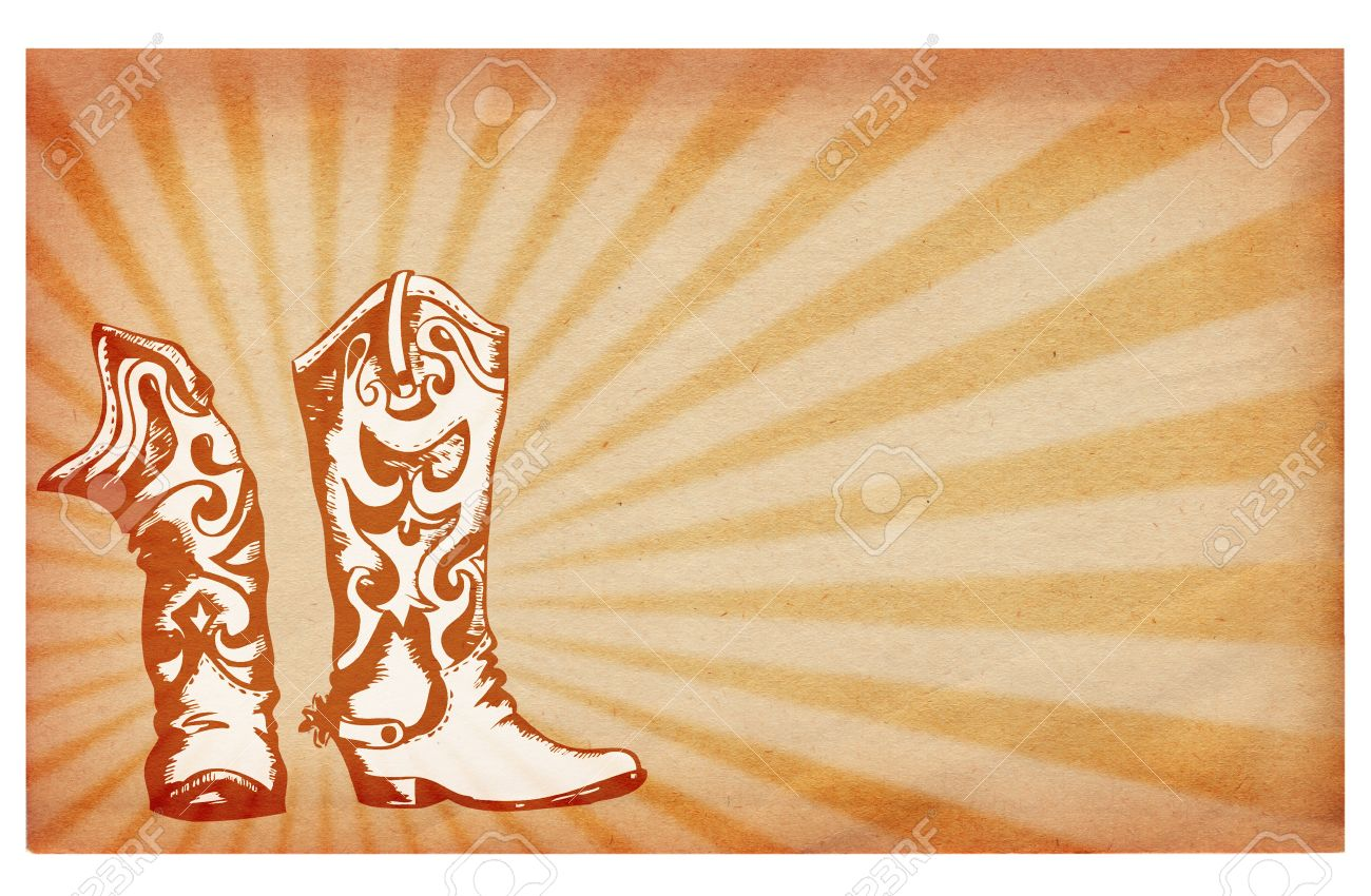 Old paper texture.Antique background with cowboy boots