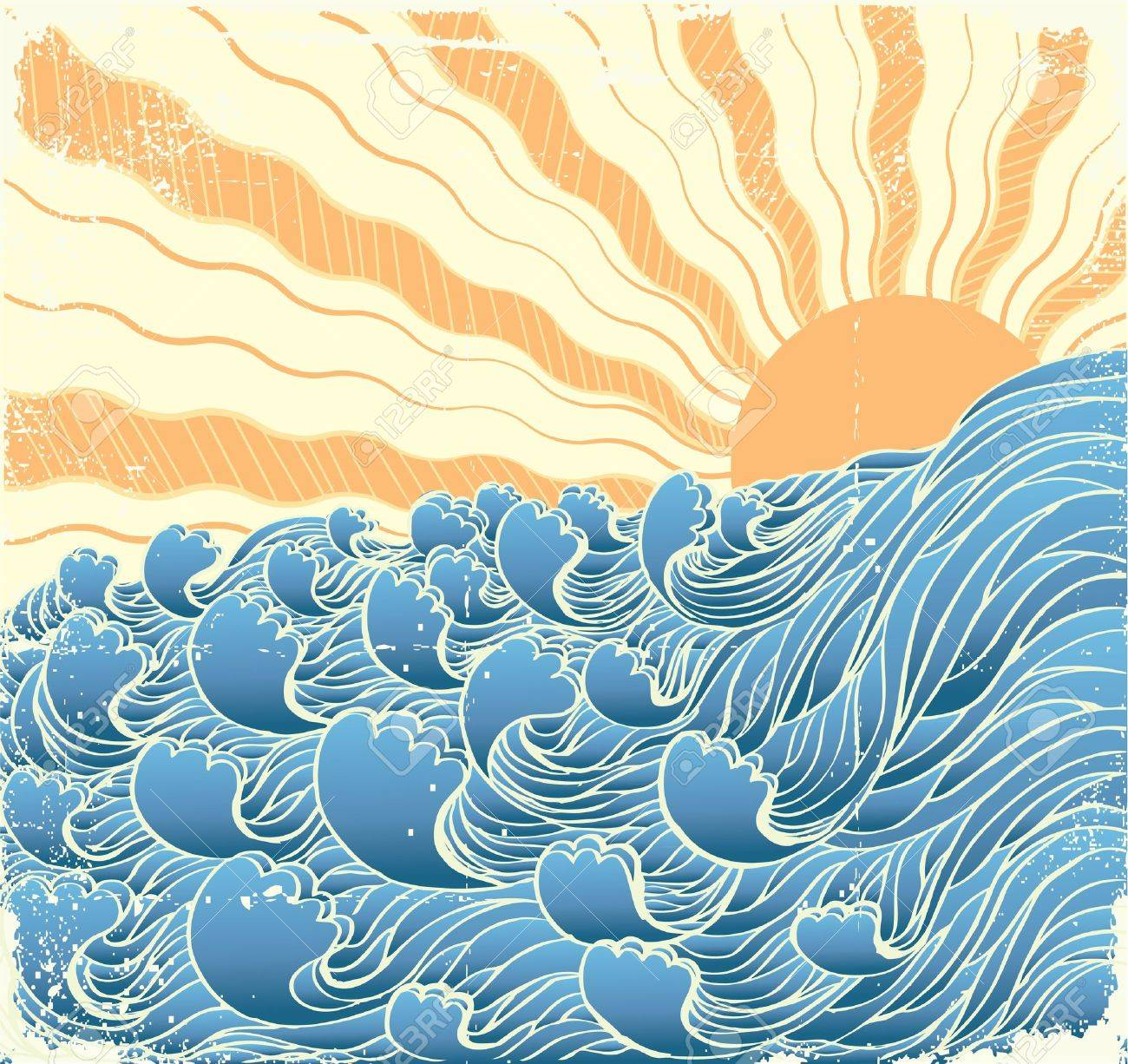 Abstract sea waves. Vector illustration of sea landscapewith sun Stock Vector - 9116612
