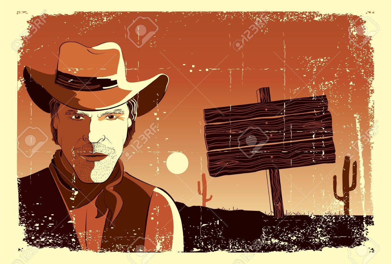 Portrait of cowboy man. Stock Vector - 9197183