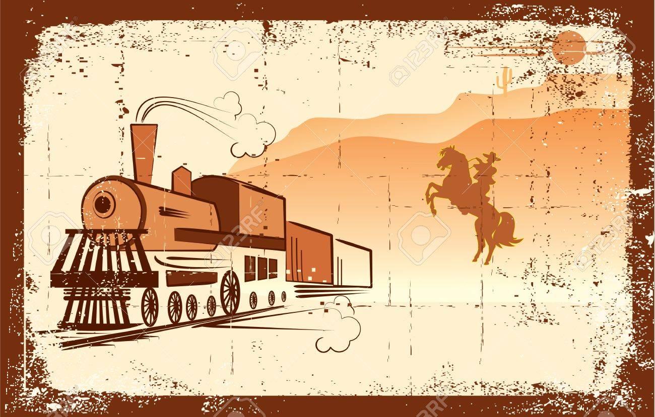 cowboy and locomotive. Western bandit life.Grunge - 9197184