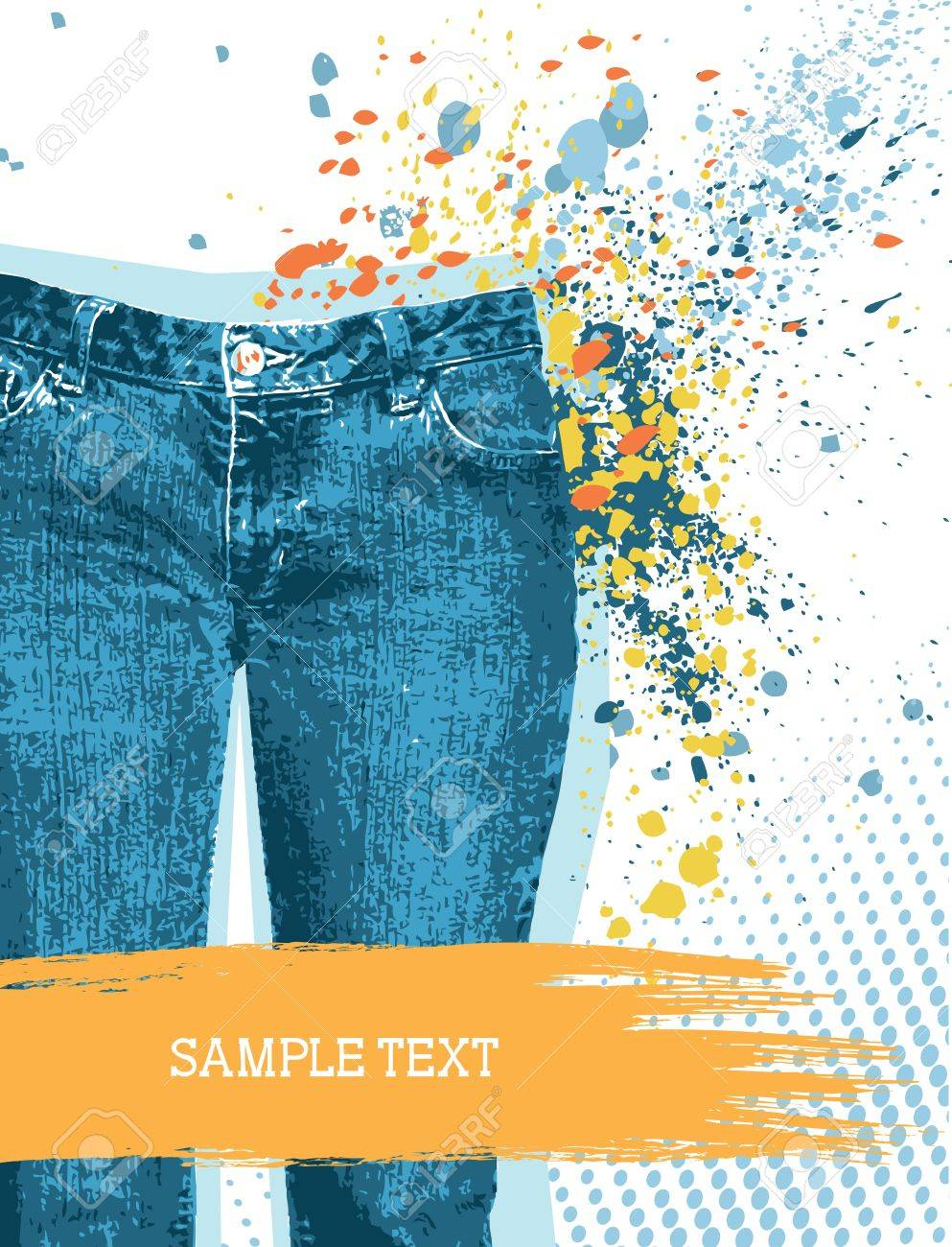 Denim background for design with grunge elements for text on white.Jeans Stock Vector - 9244915
