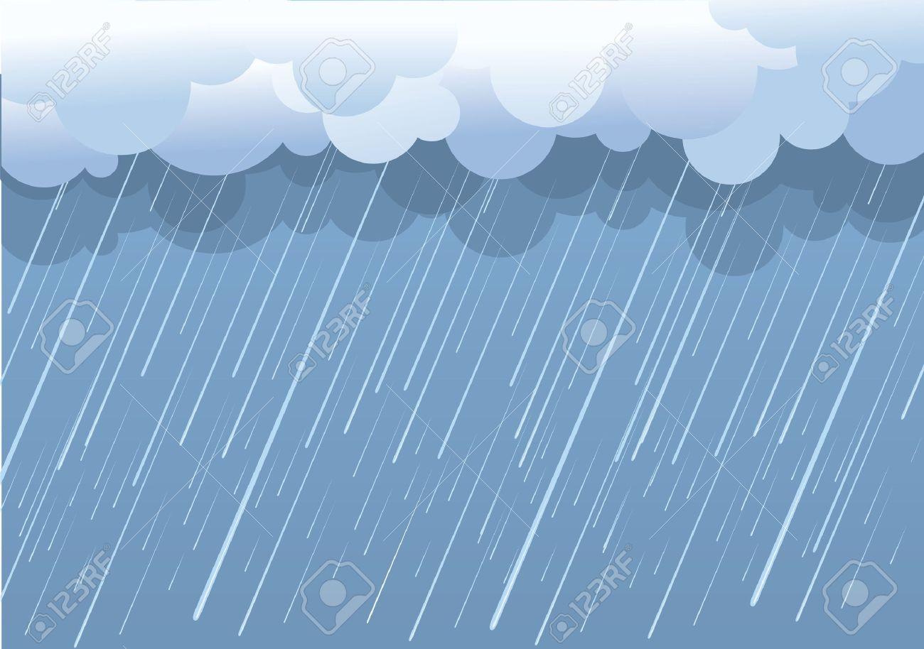 Rain.Vector image with dark clouds in wet day Stock Vector - 9278763