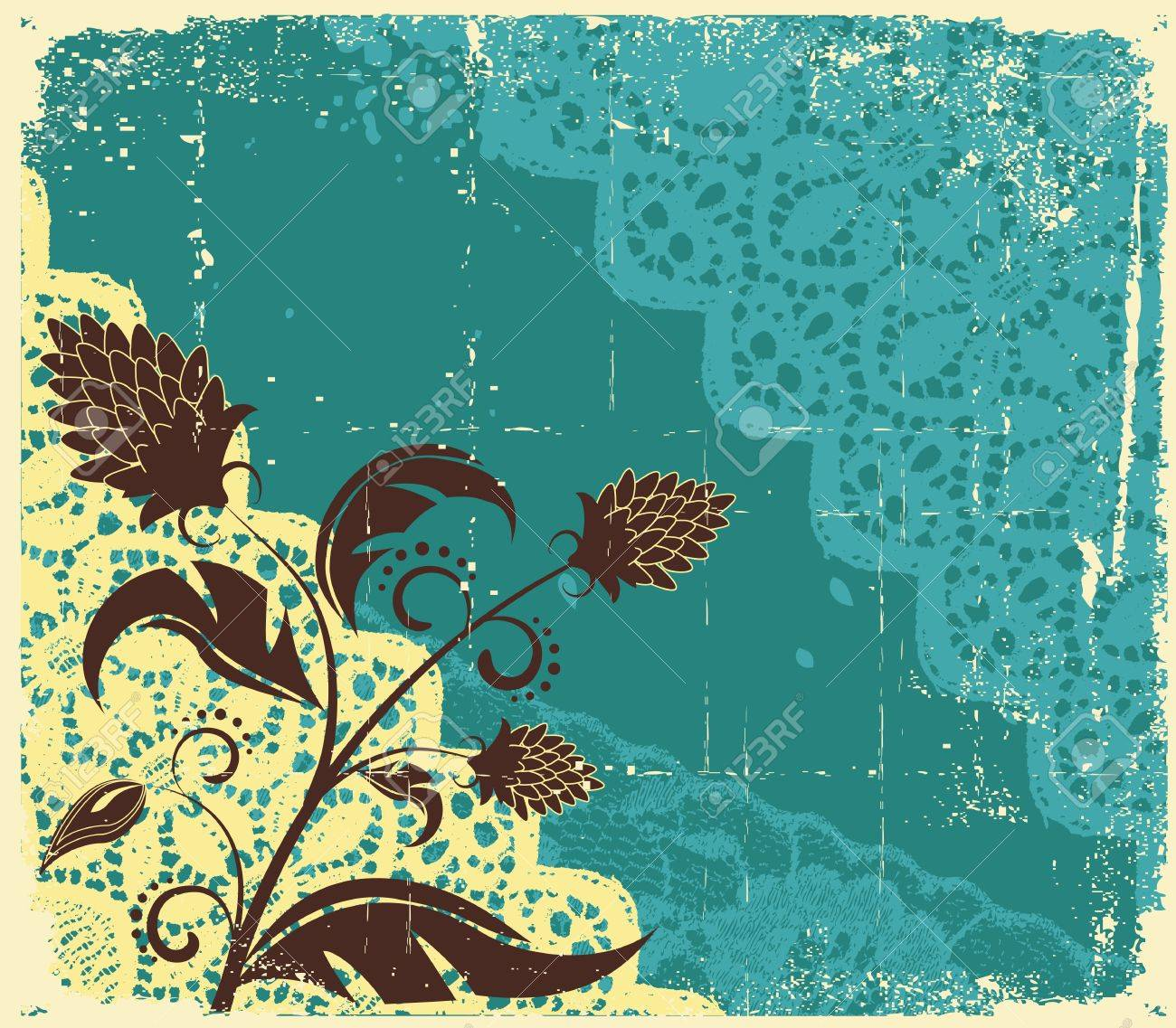 vintage floral background with flowers decoration for design Stock Vector - 9380587