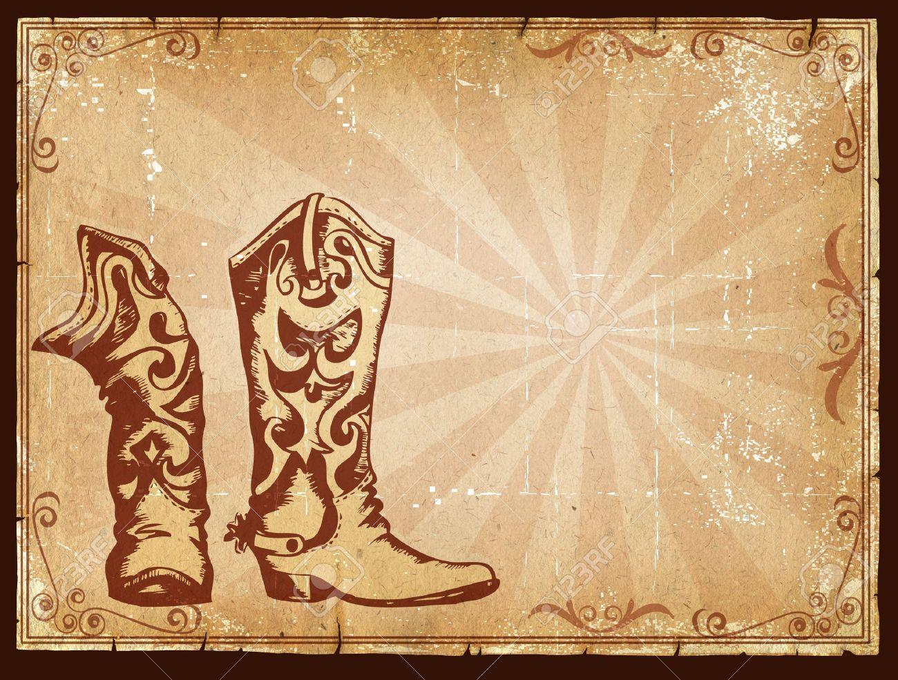 Cowboy-alte Papierhintergrund Für Text Mit Dekor-Rahmen.Retro Bild ...