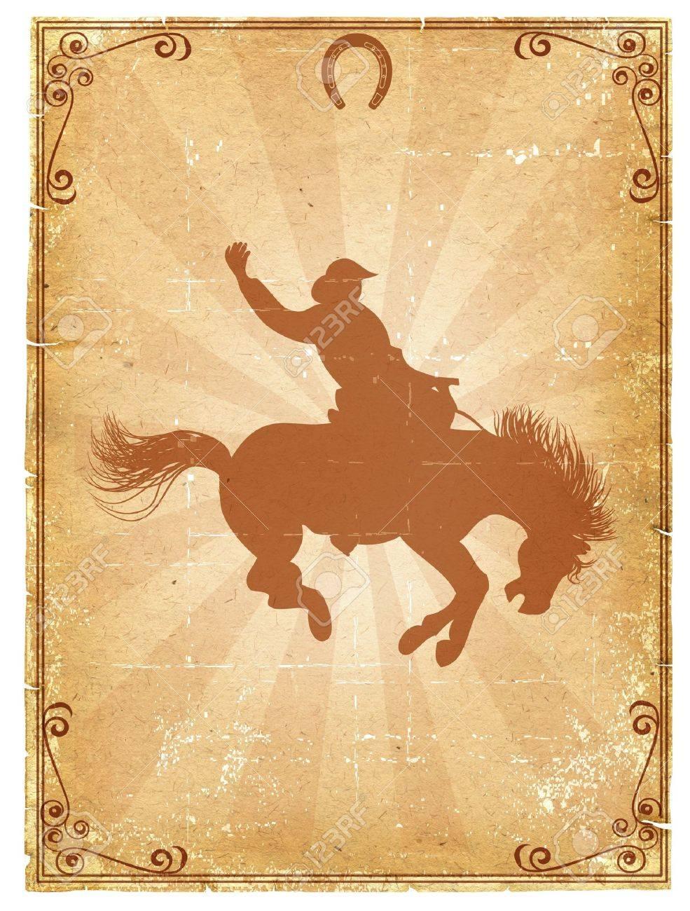 Cowboy Alten Papierhintergrund Für Text Mit Dekor Rahmen.Retro Rodeo ...