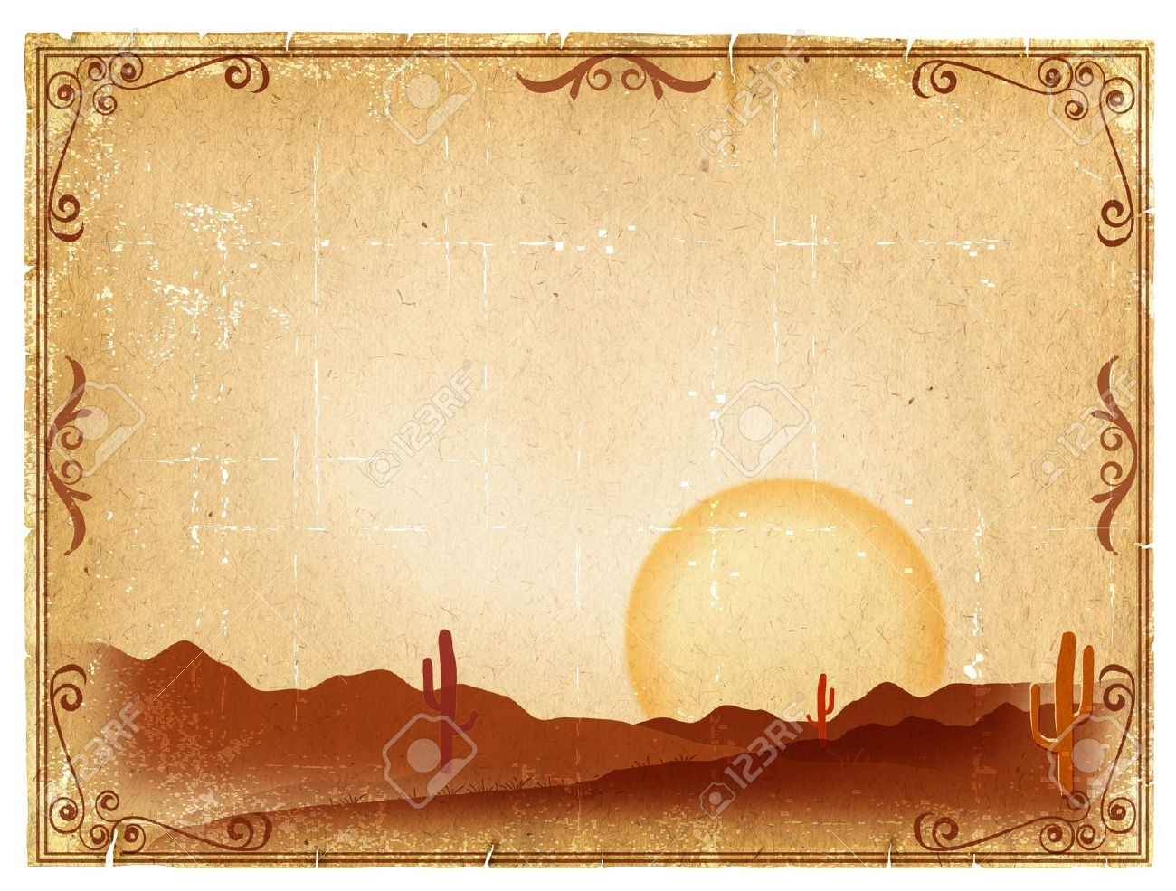 Desert Sunset with Cactus in sunset on old vintage paper background Stock Photo - 9459667
