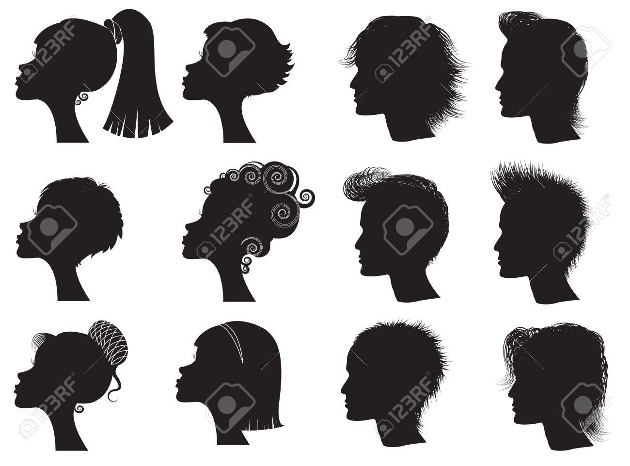 hairstyles - vector black silhouettes of men and women royalty
