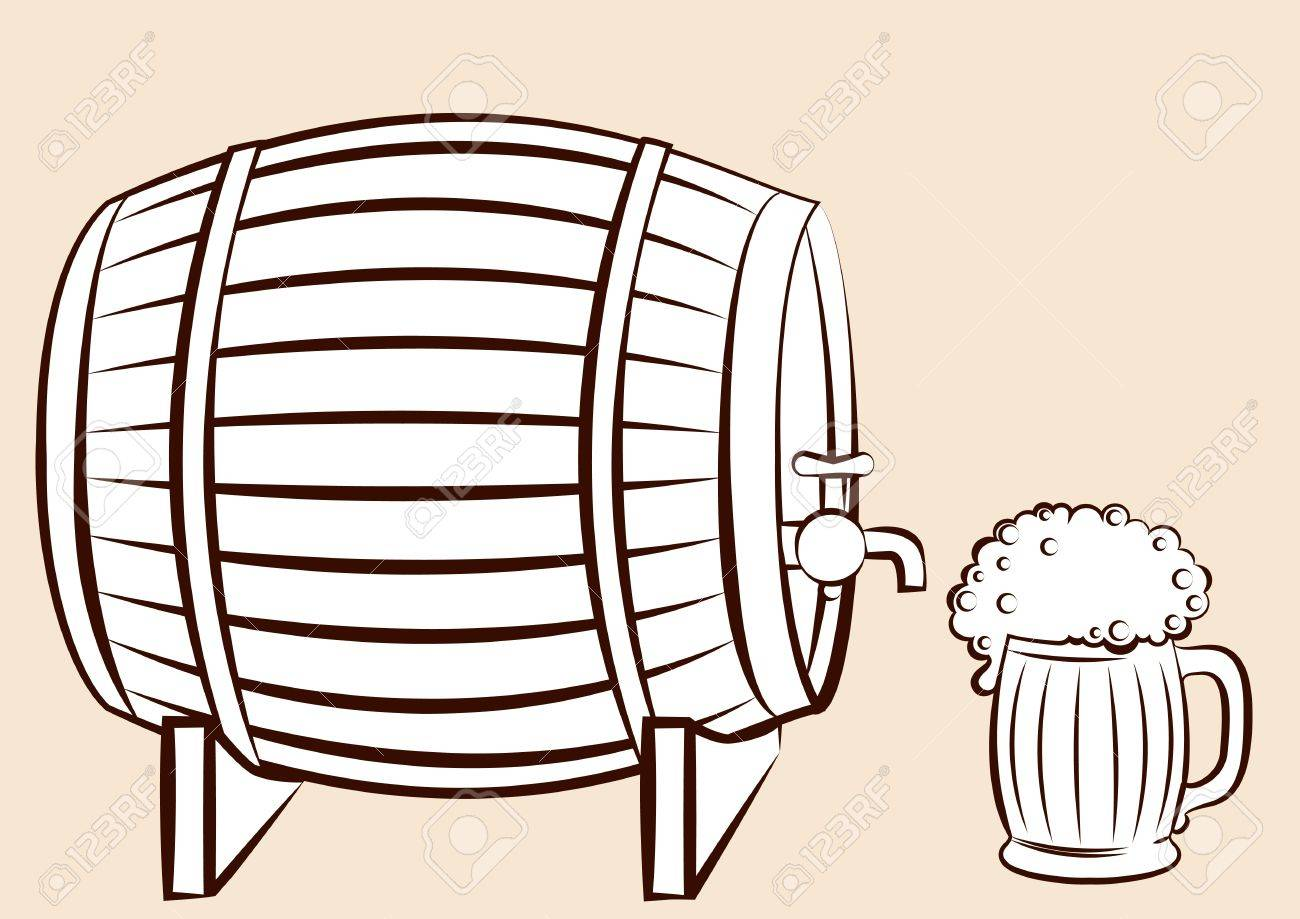 Beer Barrel Drawing Beer Keg And Glass.for Design