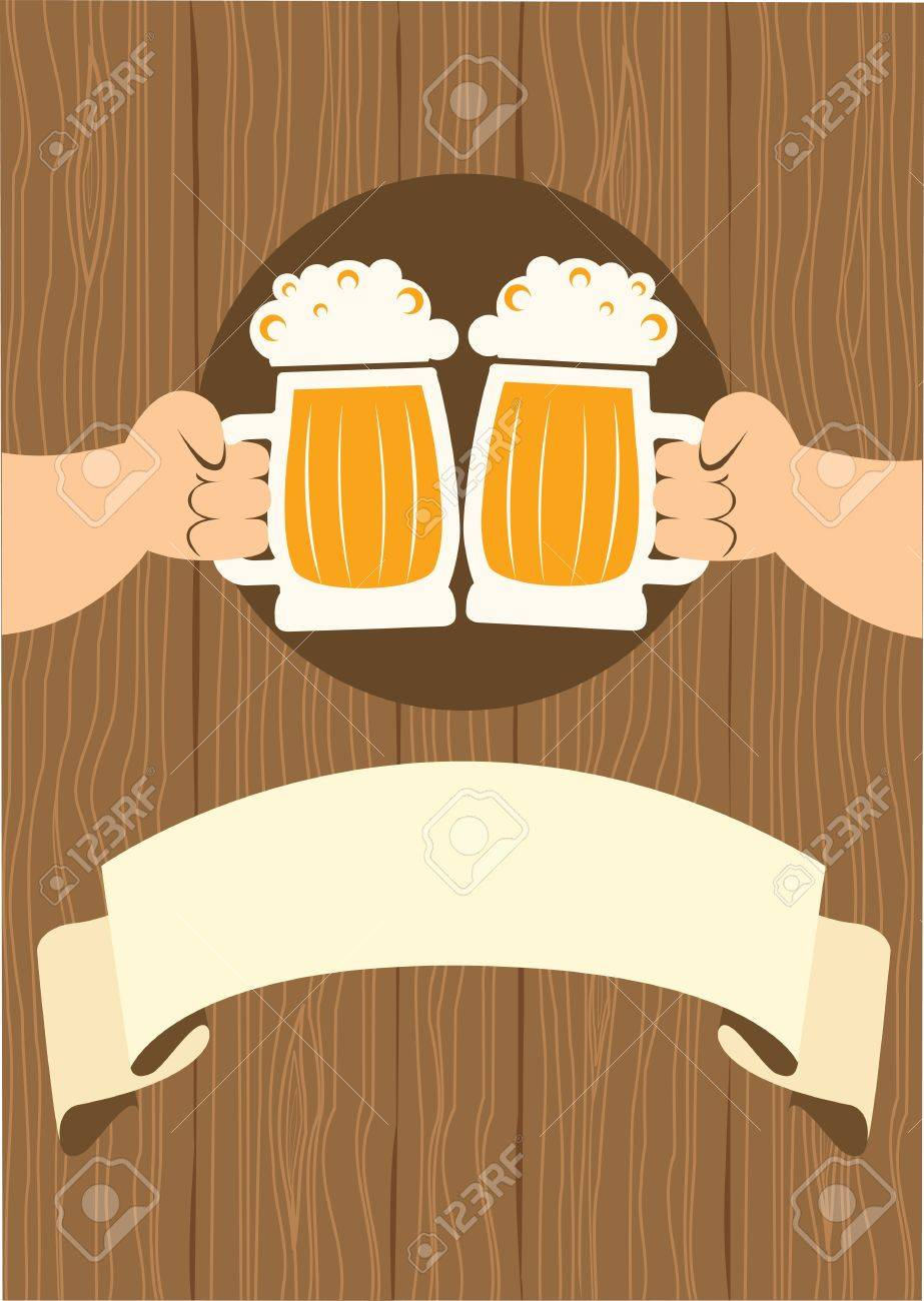 Two men with glasses of beer who toast.grunge poster Stock Vector - 9585379