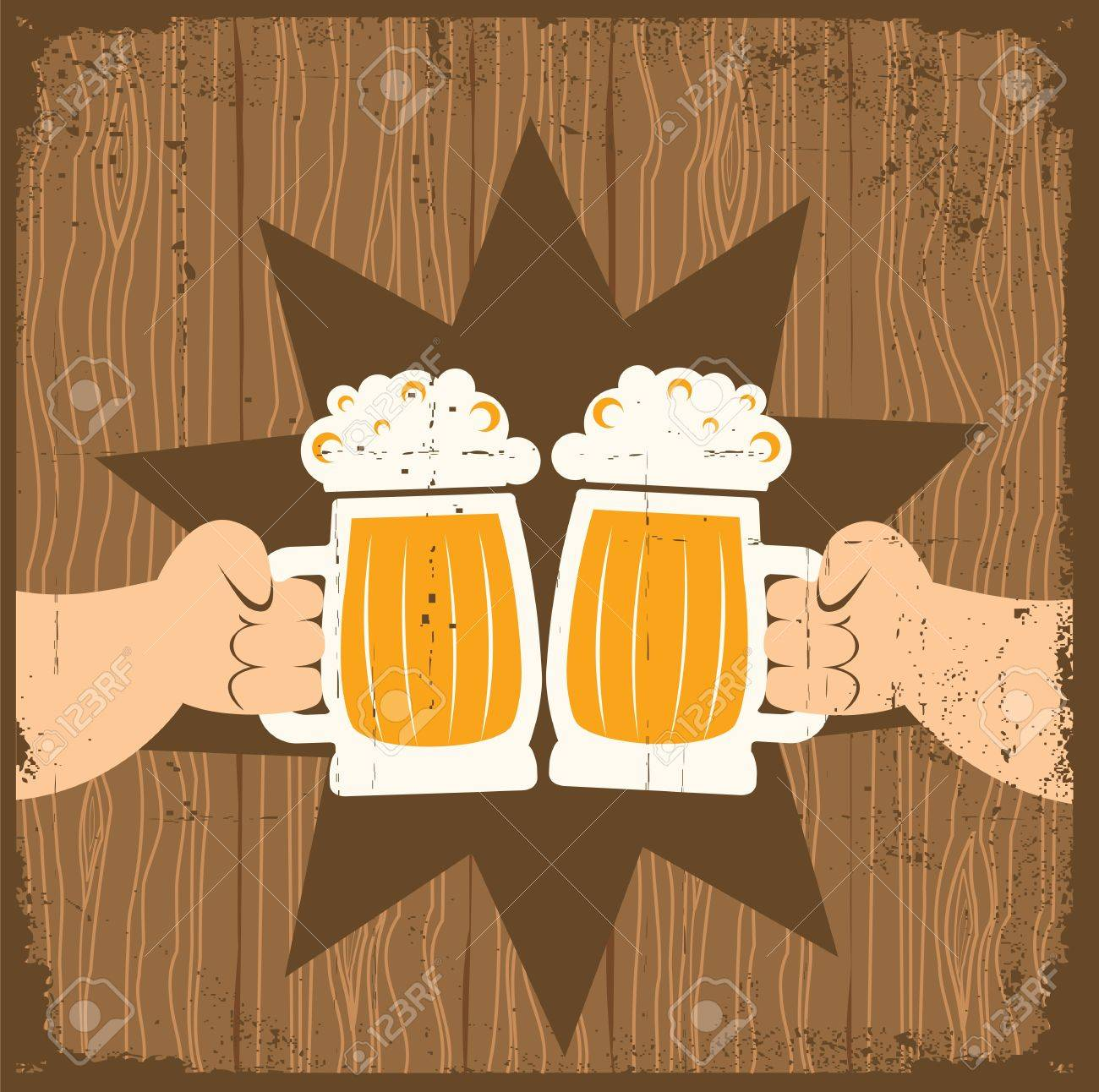 Two men with glasses of beer who toast.grunge poster Stock Vector - 9585381