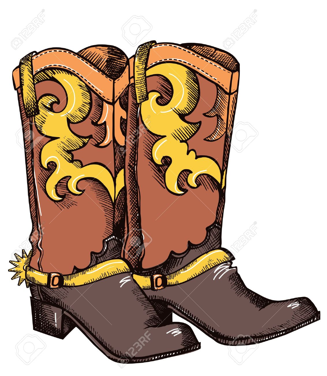 Coloring pictures of cowboy boots - Cowboy Boots Cowboy Boots Vector Color Image Of Shoes For Cowboy Life