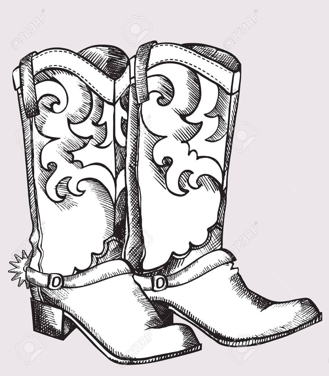 Botas de Cowboy.Imagen gráfica de vector de zapatos para la vida de vaquero  Foto 554cf5753a5