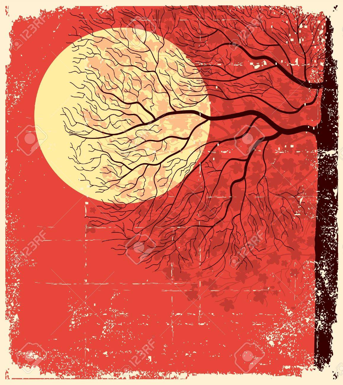 Tree under evening sky and moon lighting. illustration on old paper background - 9717055