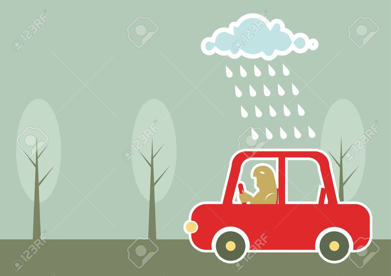 man driving by car under raining cloud.Vector background Stock Vector - 9800776