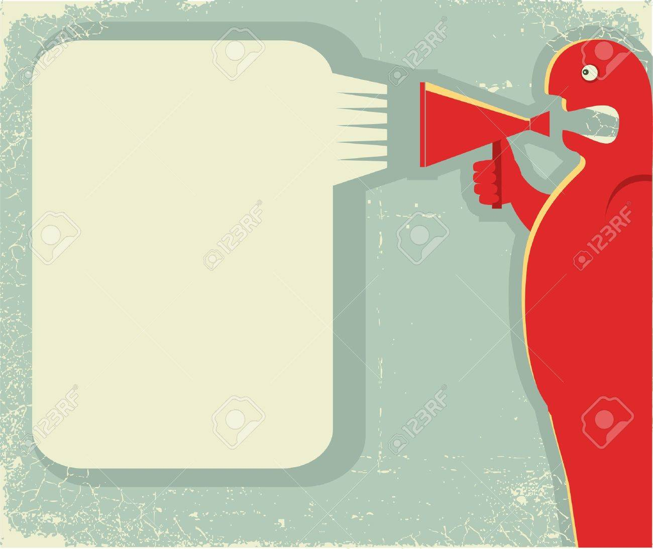 man shouting through loudspeaker.Vector posterfor text on old paper texture Stock Vector - 9800794