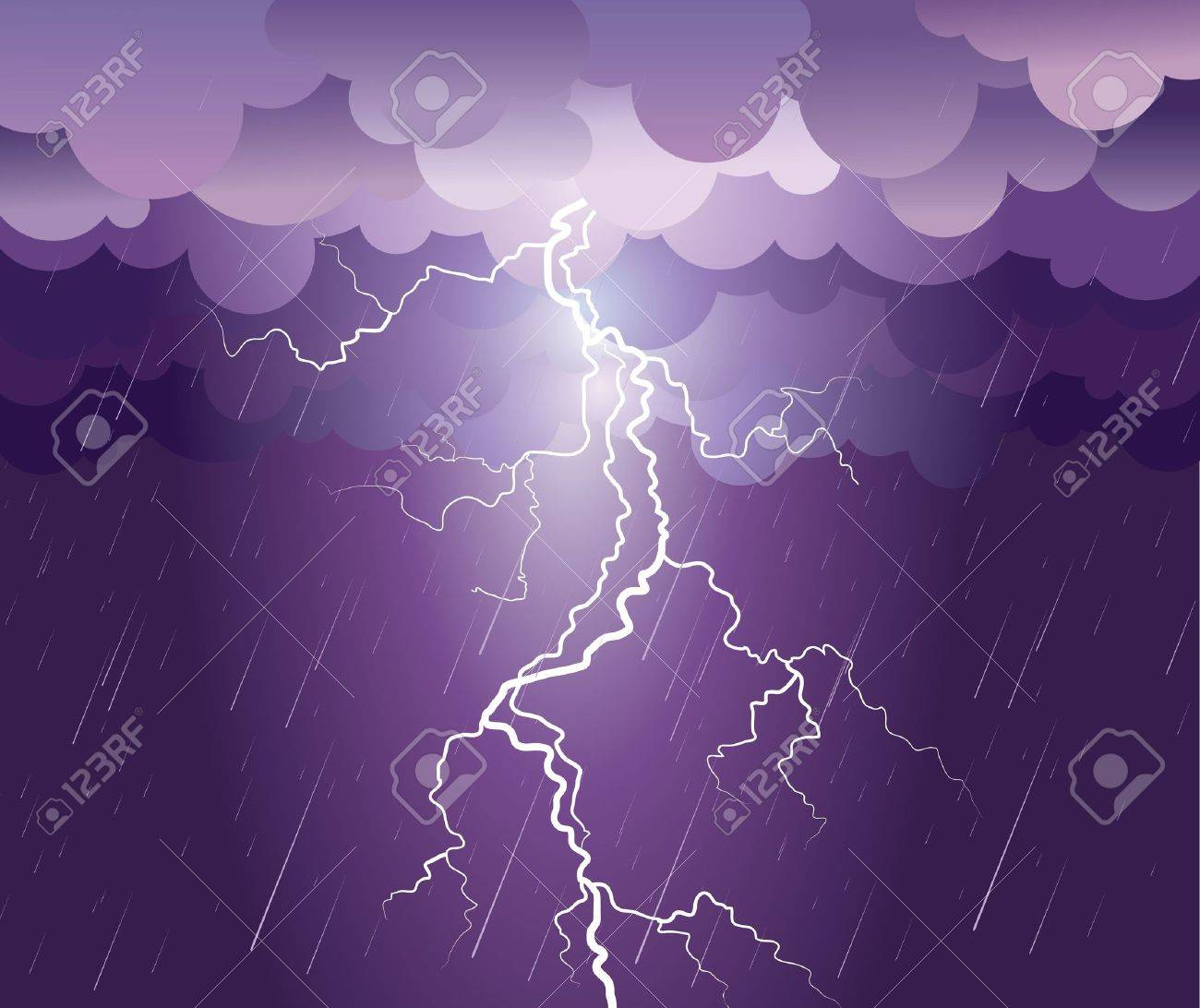 Lightning strike.rain image with dark clouds Stock Vector - 9923591