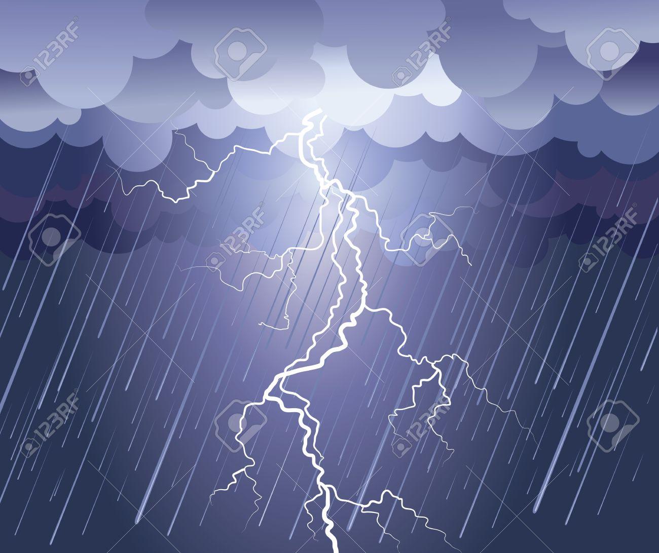 Lightning strike.rain image with dark clouds Stock Vector - 9923590