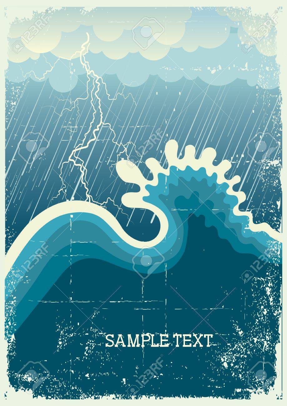 Storm in ocean with big wave and lightning.vintage illustration Stock Vector - 9923651
