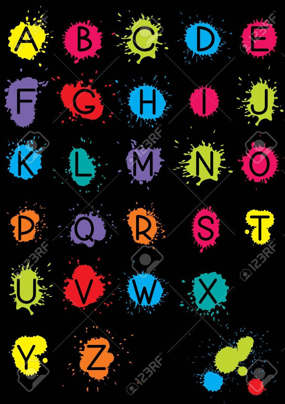 Vector English alphabet with grunge elements on black background Stock Vector - 10035423