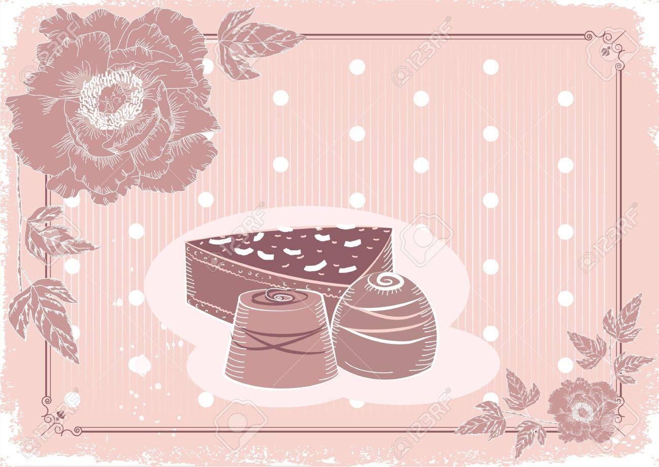 Floral postcard with chocolate sweets .Vector background in pastel colors.Vintage card Stock Vector - 10301203