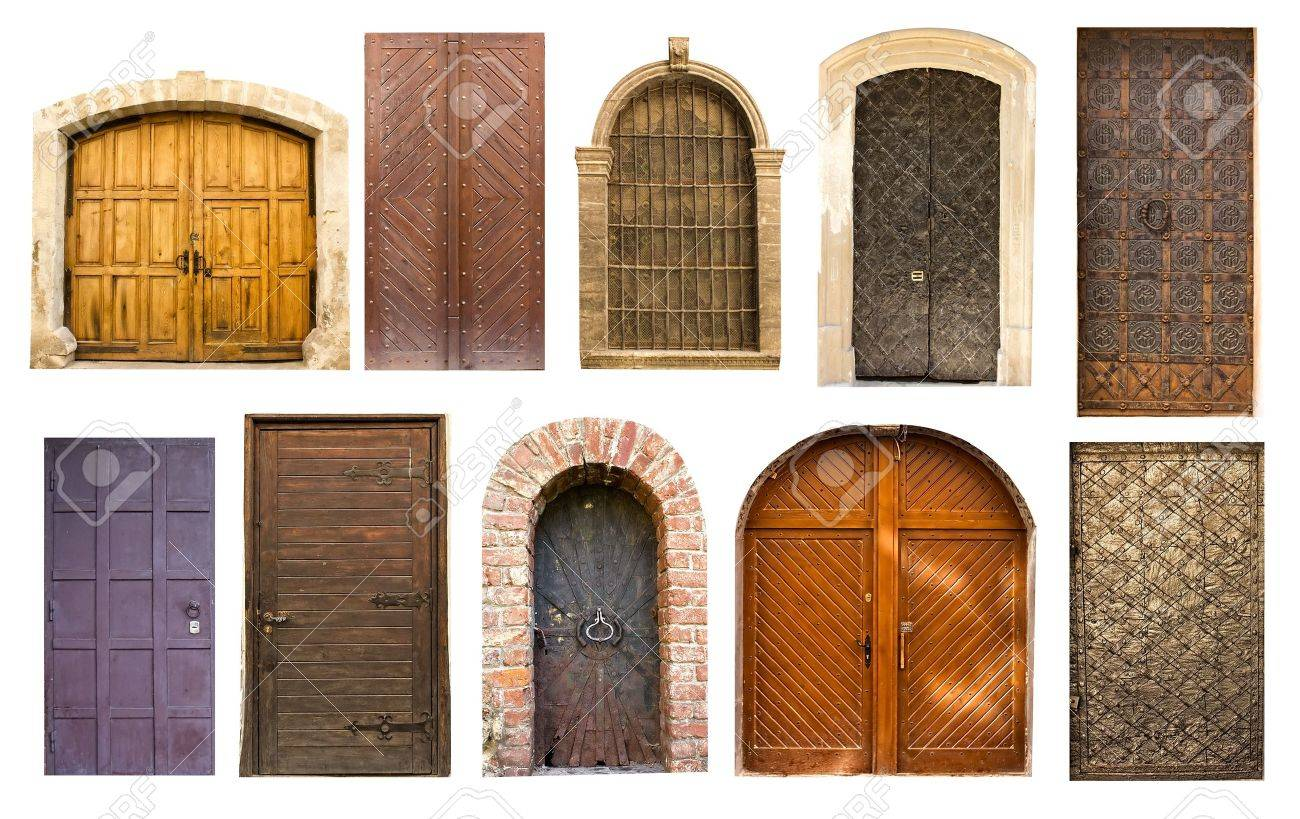 Different collection of old antique doors and gates for design on white  Stock Photo - 10443143 - Different Collection Of Old Antique Doors And Gates For Design