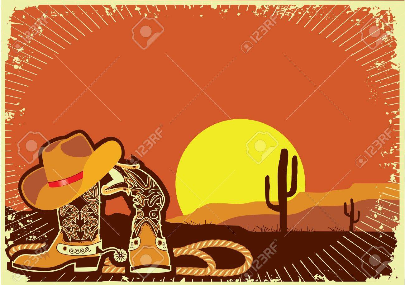 Cowboy boots and hat Stock Vector - 10633585
