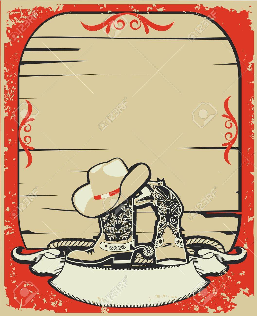 Cowboy elements.Red background with grunge elements decorationl .Retro image Stock Vector - 10633589