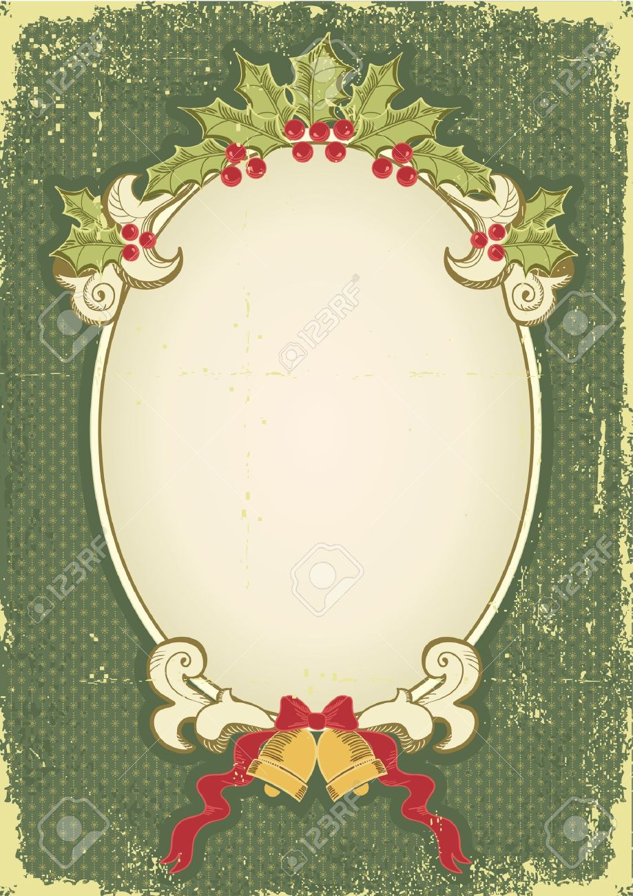 Vintage Christmas Card For Design With Holiday Elements.Vintage ...