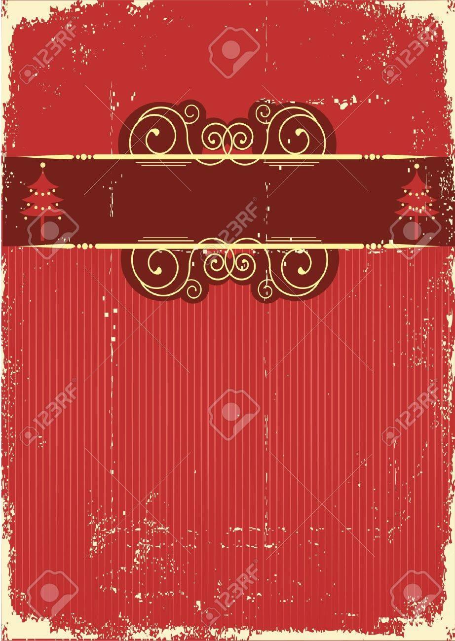 Vintage red Christmas card .Vintage background Stock Vector - 10802884