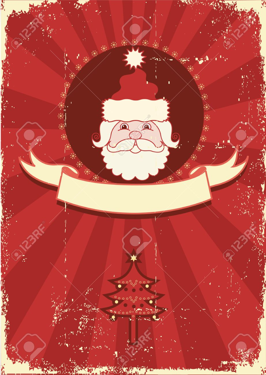 vector vintage red christmas card with portrait of santa vintage background