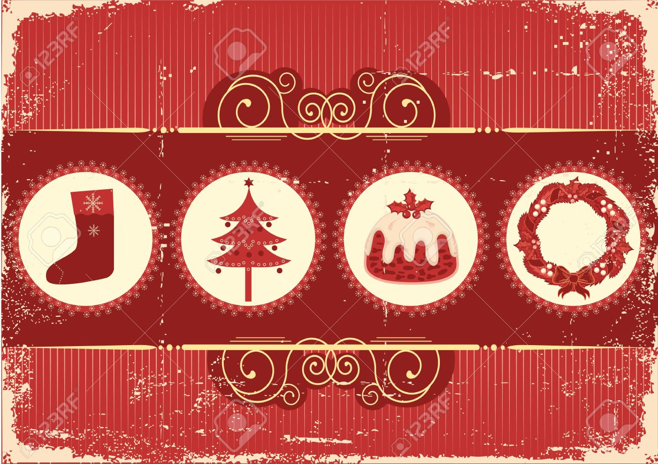 Vintage christmas background card for holiday on old paper Stock Vector - 10853677