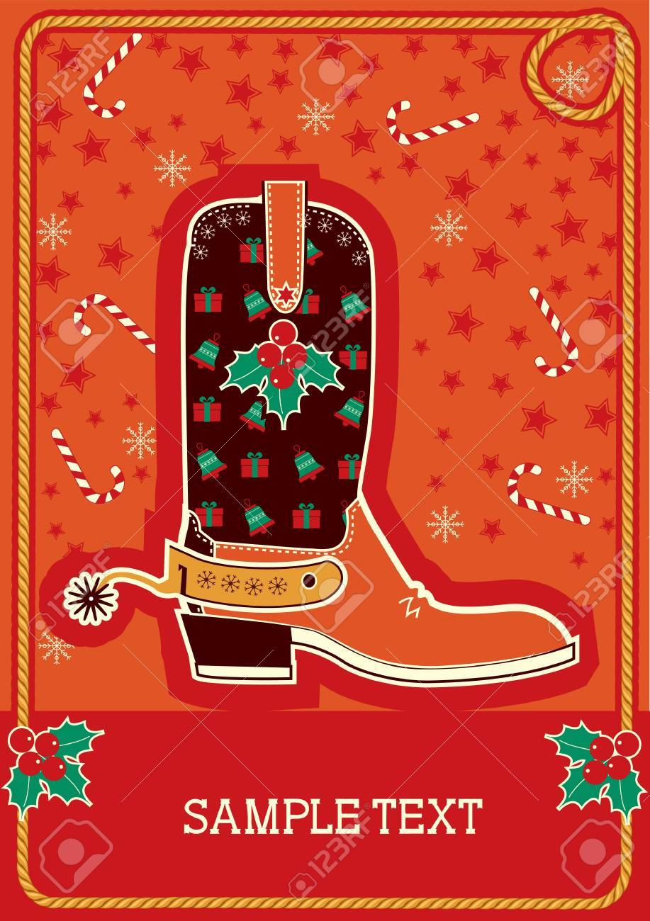 Cowboy red christmas  card with boots and holiday decoration for text Stock Vector - 10928516