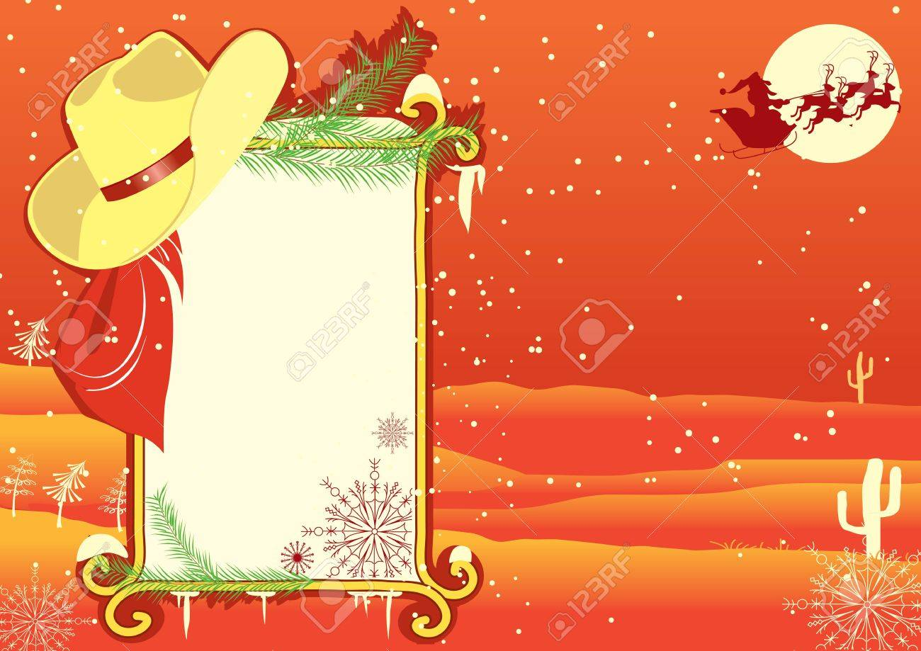 Billboard frame with cowboy hat.Vector christmasn background Stock Vector - 10928528