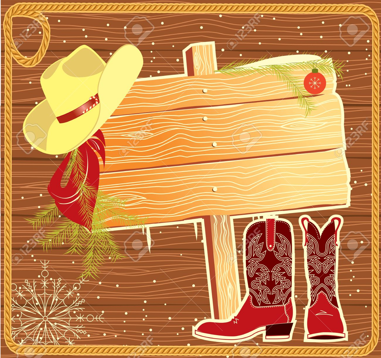 Billboard Frame With Cowboy Hat.Vector Christmas Background Royalty ...