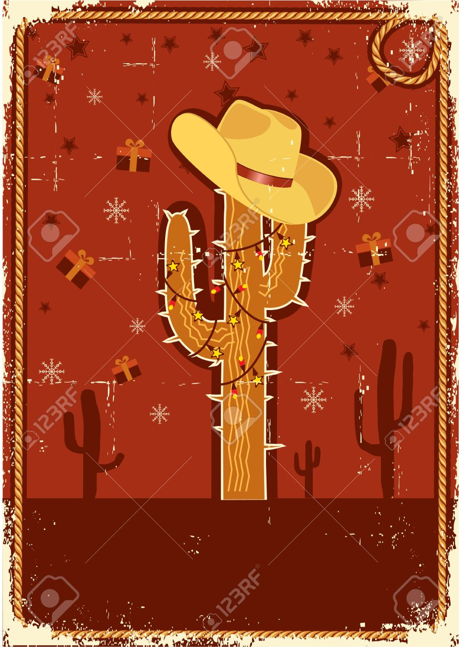 Cowboy Christmas Card With Cactus And Winter Holiday Decoration ...