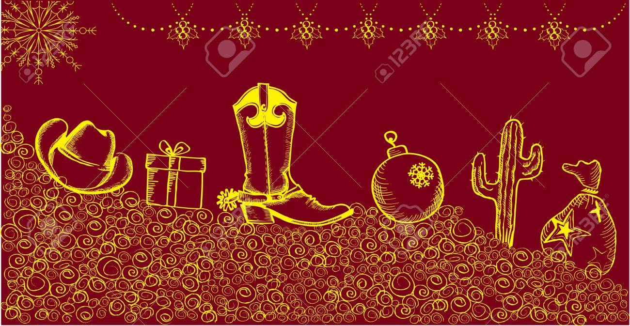 Cowboy christmas card with holiday elements and decoration Stock Vector - 11057430