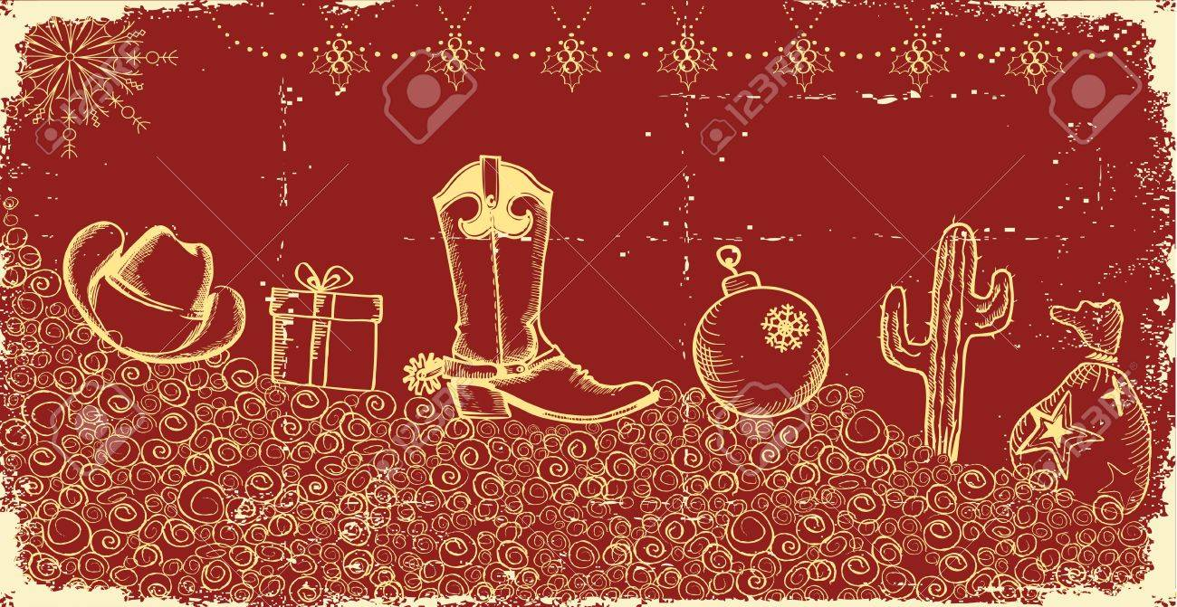 Cowboy Christmas Card With Holiday Elements And Decoration On