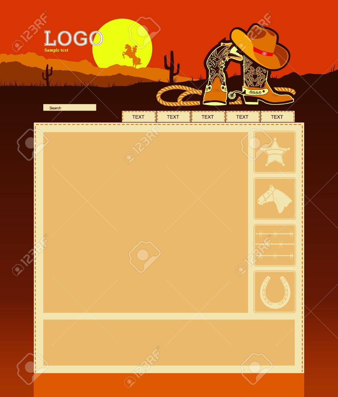 Editable Website template background with cowboy's elements for text Stock Vector - 11660751
