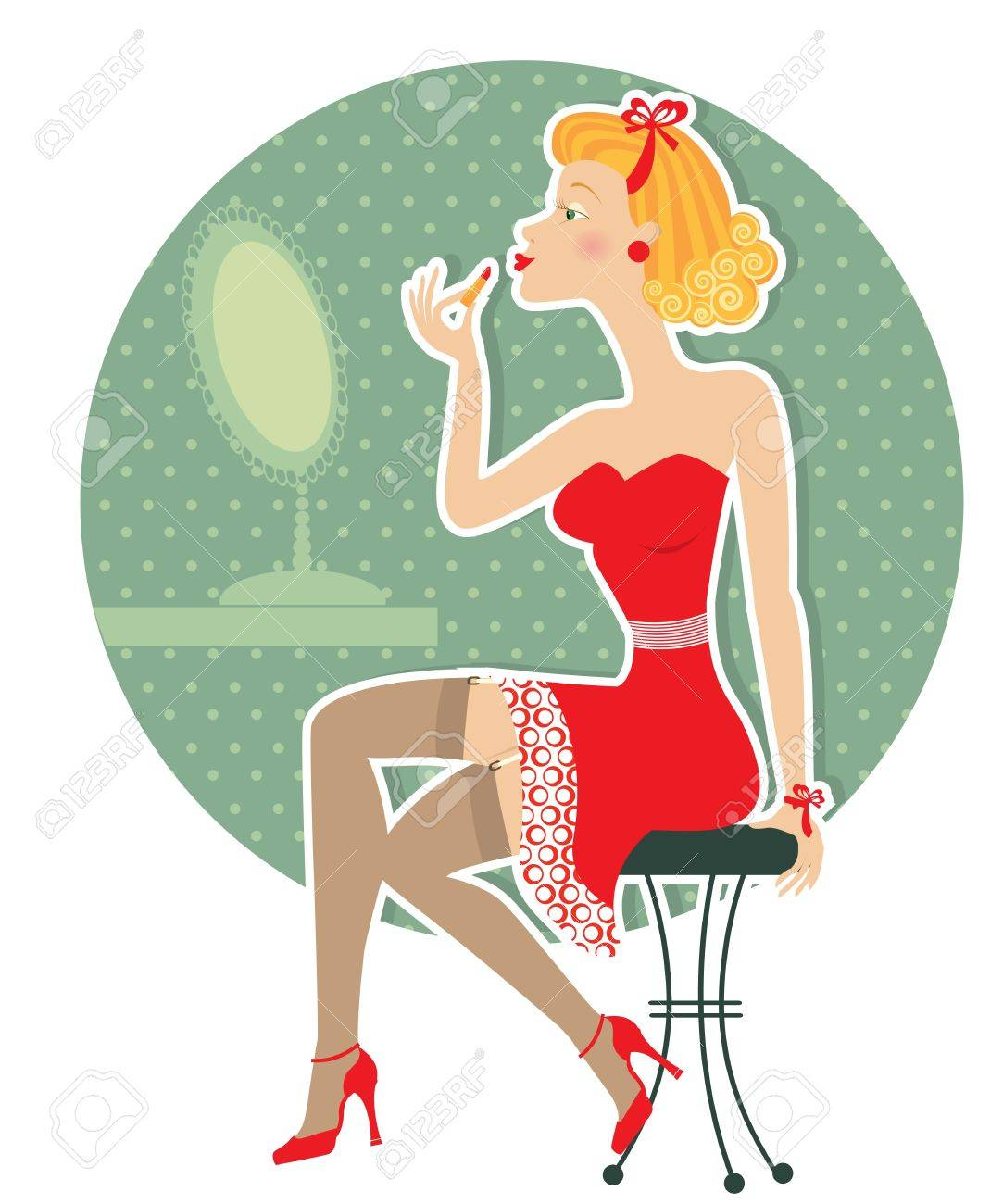 Retro nice woman and make up lipstick.Pin up style Stock Vector - 12331026