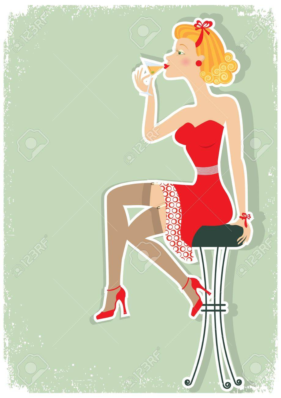Retro woman is sitting and drinking martini in red dress.Pin up style poster Stock Vector - 12331028