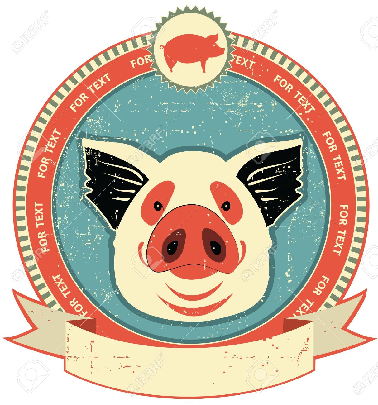 Pig head label on old paper texture.Vintage style Stock Vector - 12331034