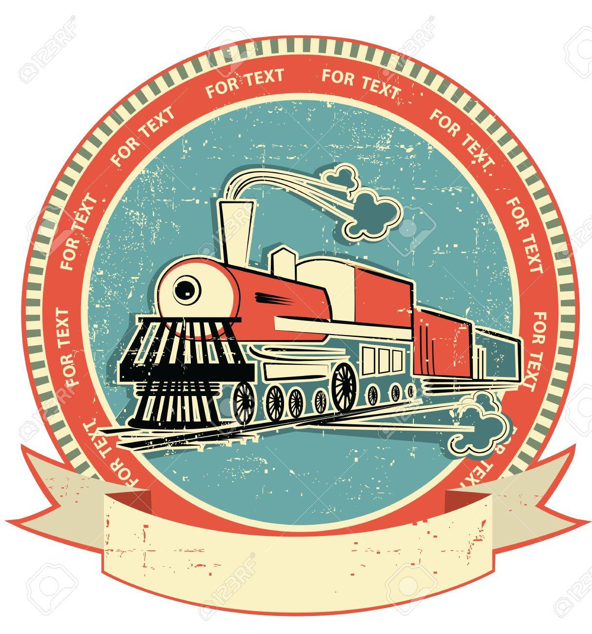 Locomotive label.Vintage style on old texture for text - 12331161