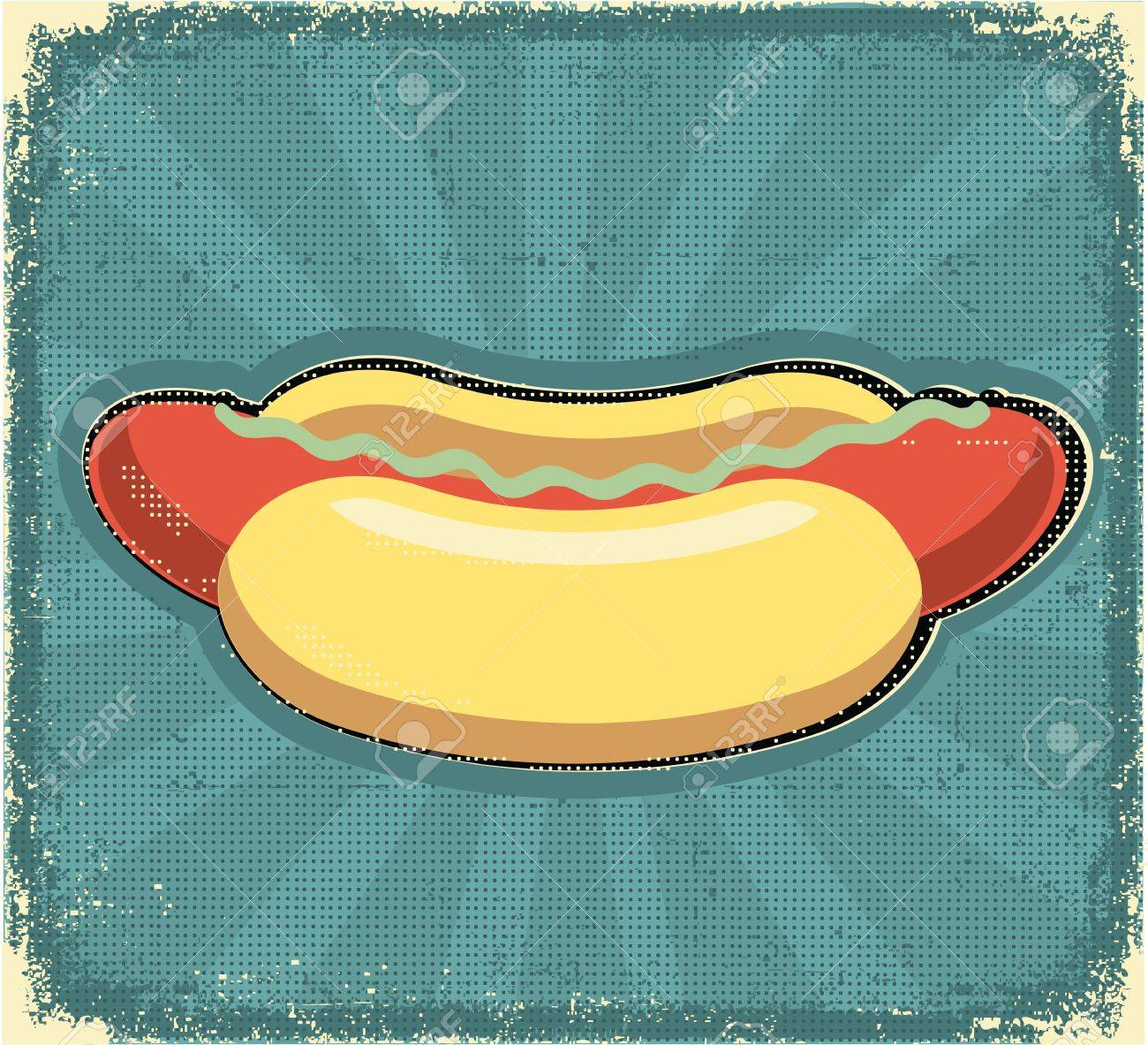 Hot dogs poster.Retro image on old paper texture Stock Vector - 12331177