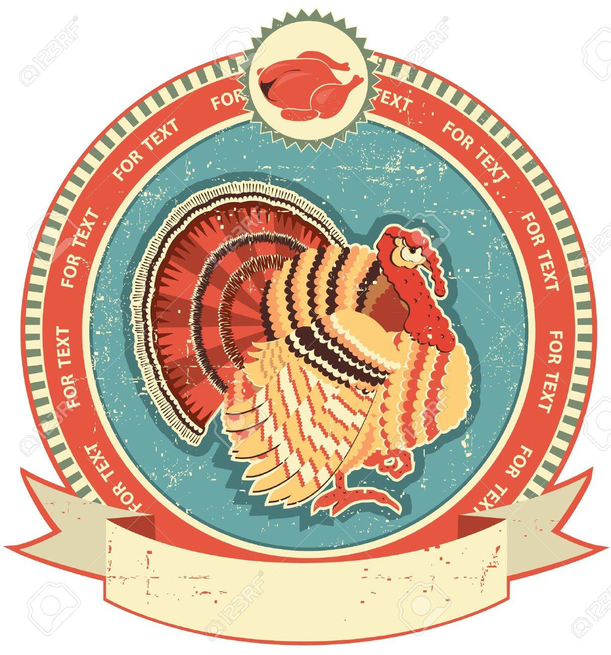 Turkey label on old paper texture.Vintage style Stock Vector - 12331089