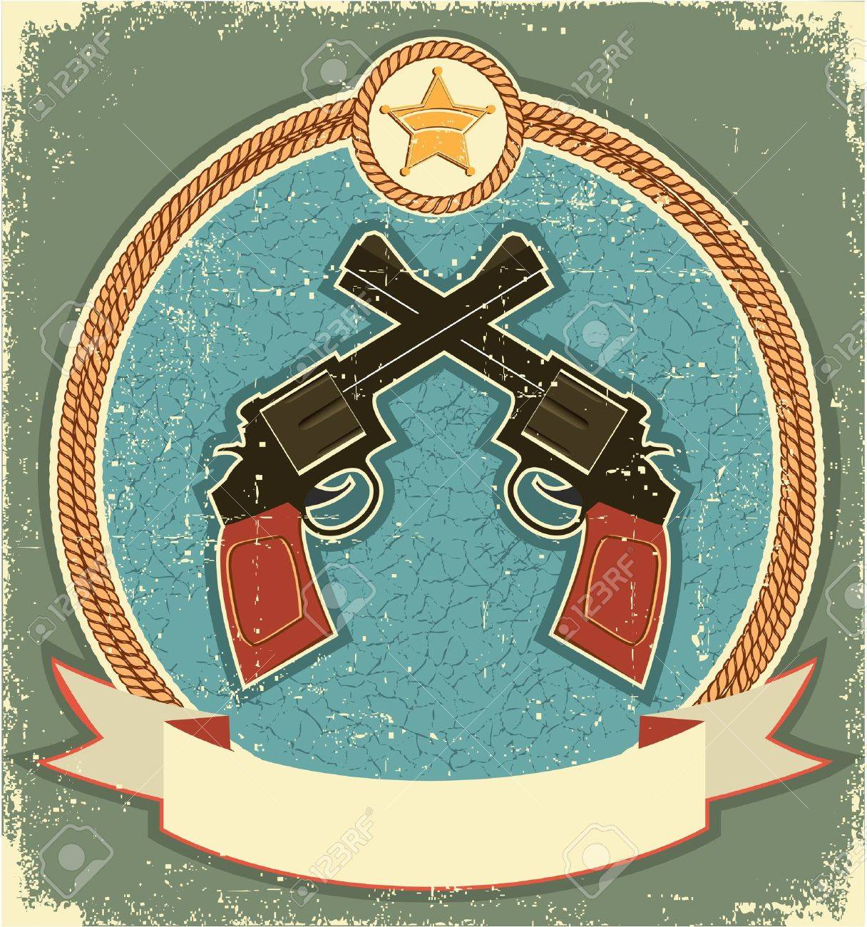 Western revolvers and sheriff star.Vintage label illustration for text Stock Vector - 12331145